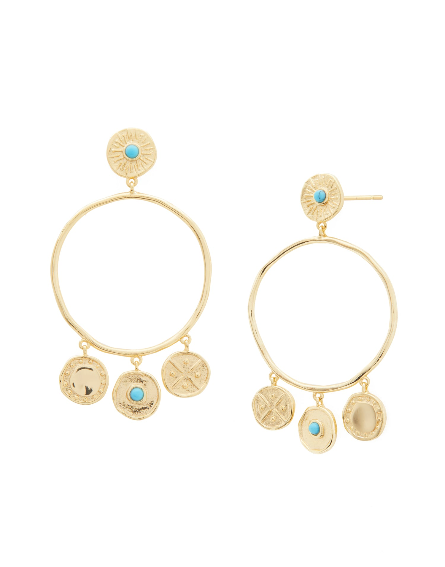 Cruz Coin Drop Earrings Gold Front