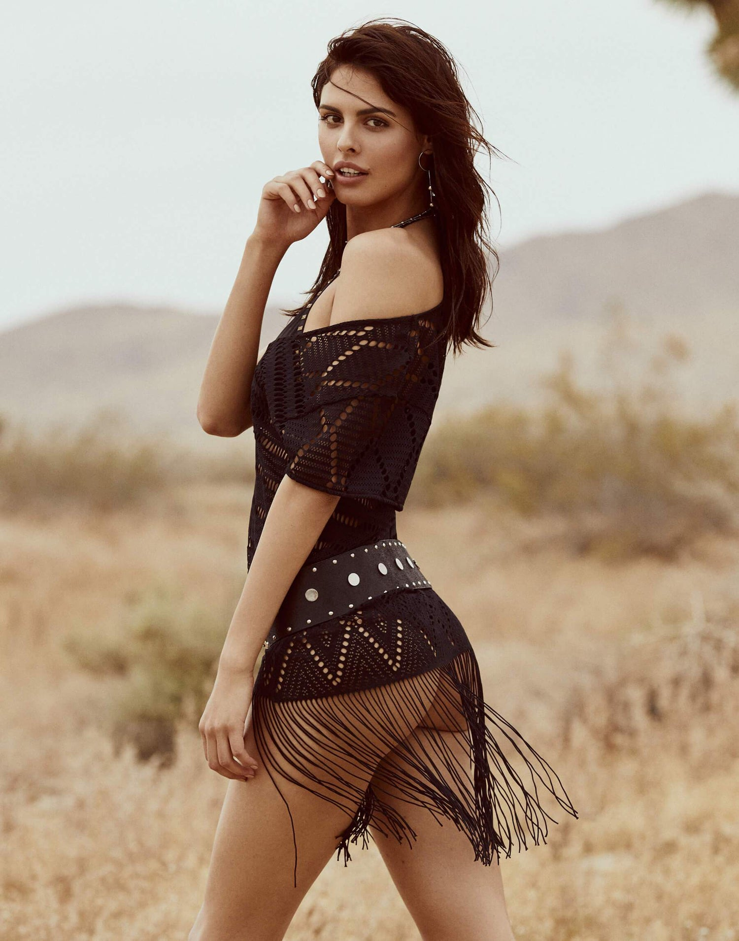 Black Mini Crochet Dress for Beach Cover Up - side view