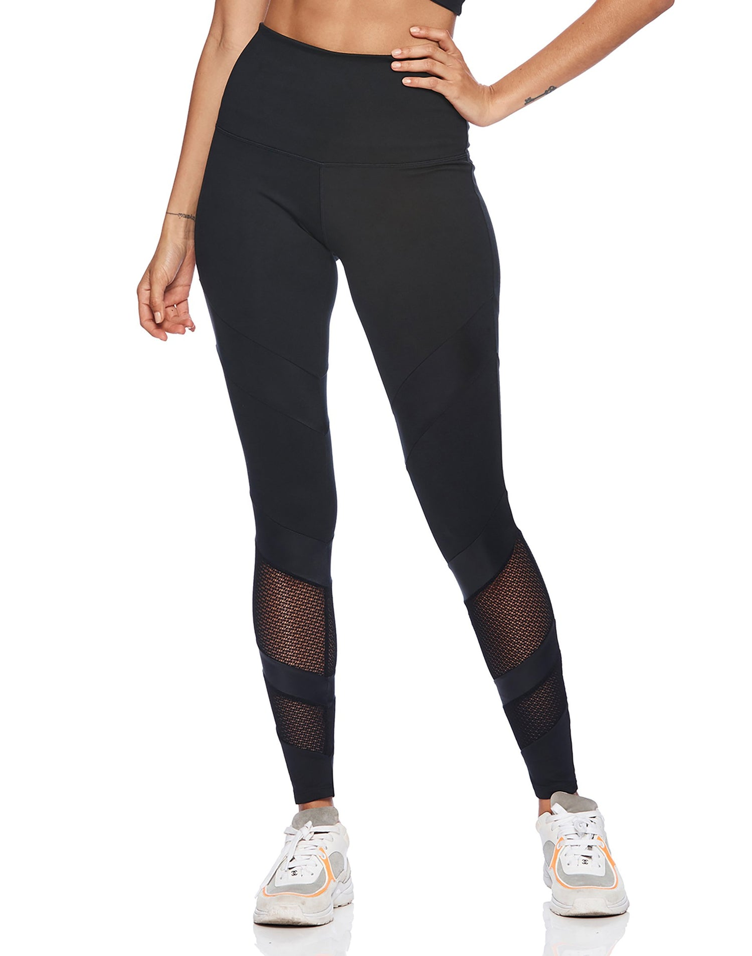 Active High Waisted Legging in Black for Workout - front view