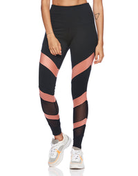 Active High Waisted Black Legging with Pink Stripes - front view