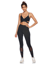 Cute Black Workout Wrap Top - front view