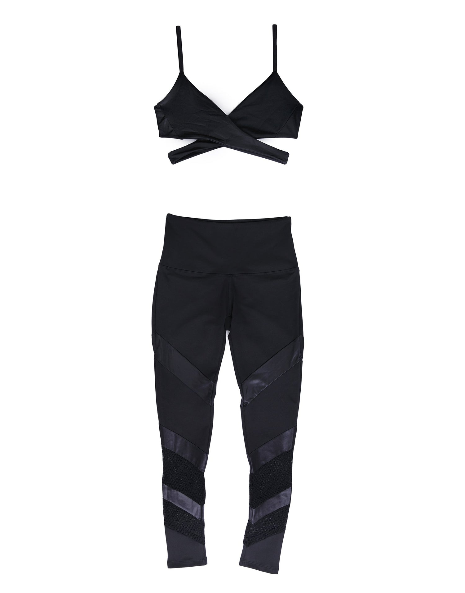 Black Sports Bra with Wrap Top Style - product view
