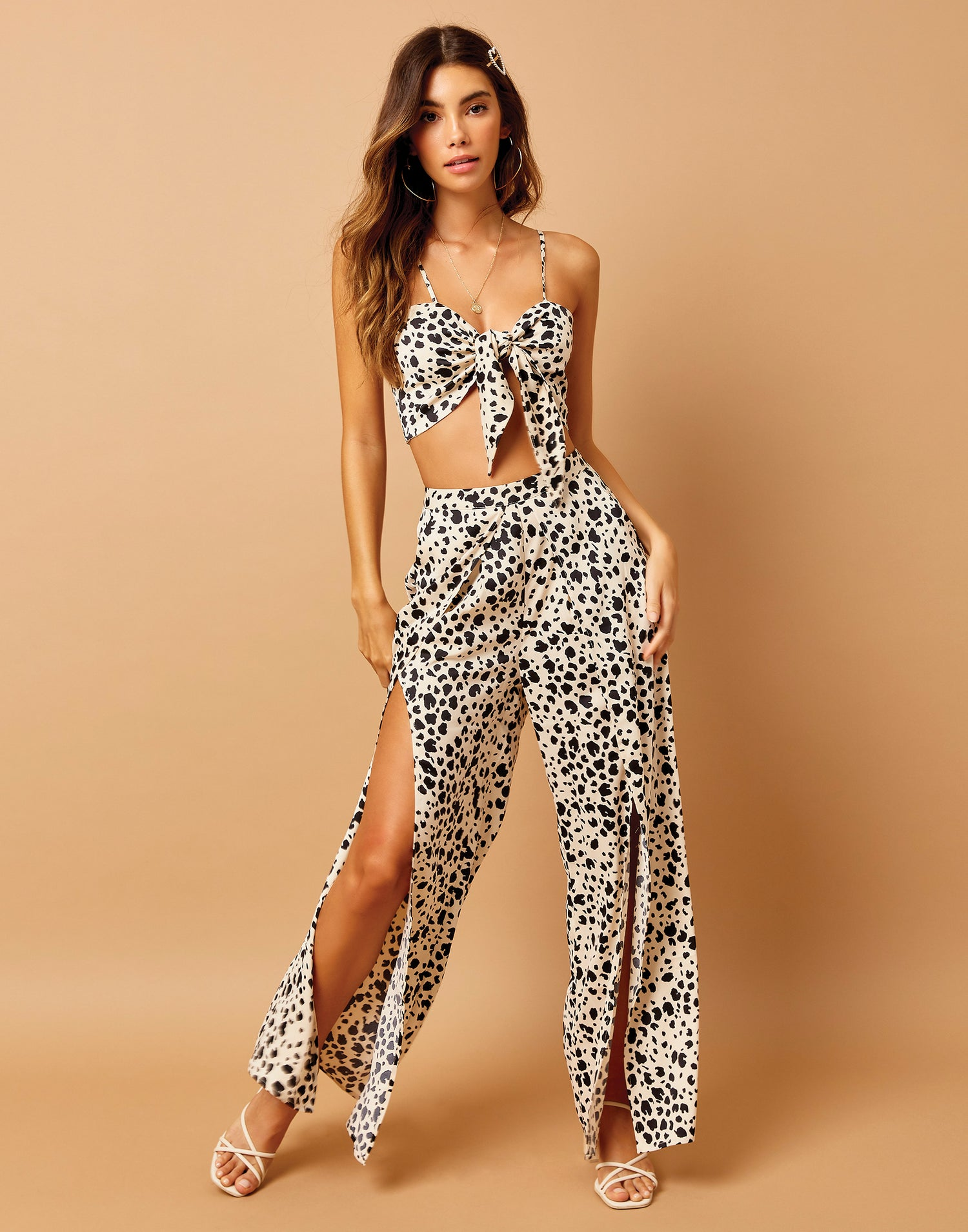 Ramsey Pant with Leg Slits in Animal Dot - front view
