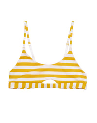 Elsie Bralette Bikini Top in Honey Yellow/White Stripe Rib with Cutout Detail - product view