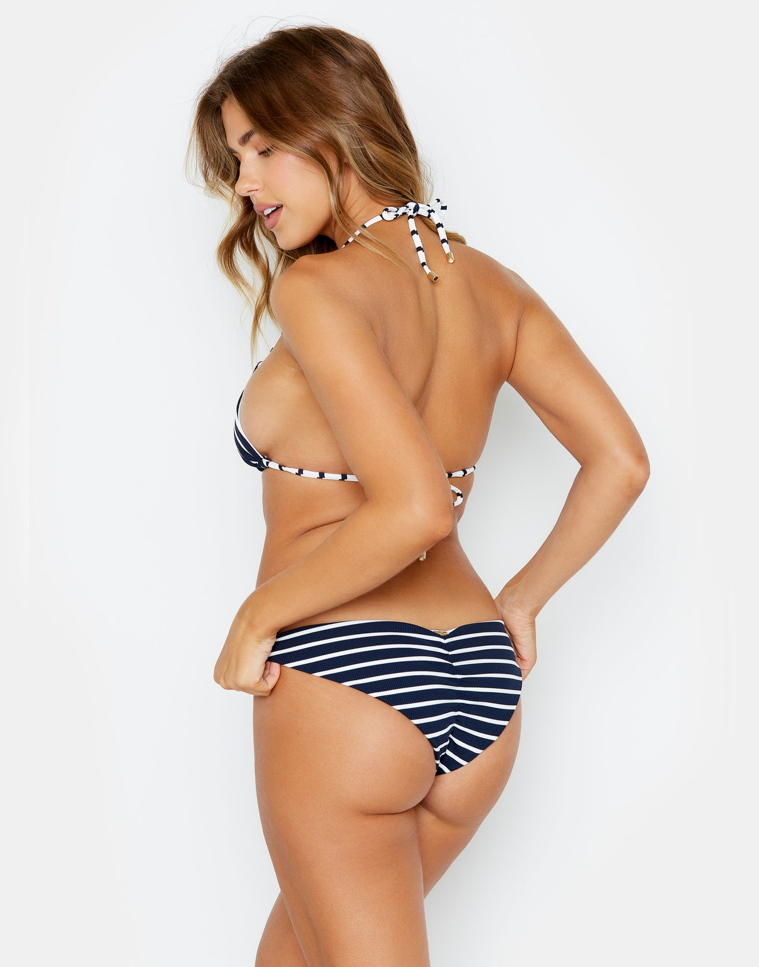 Navy Stripe Reversible Angela Bikini Bottom Back View