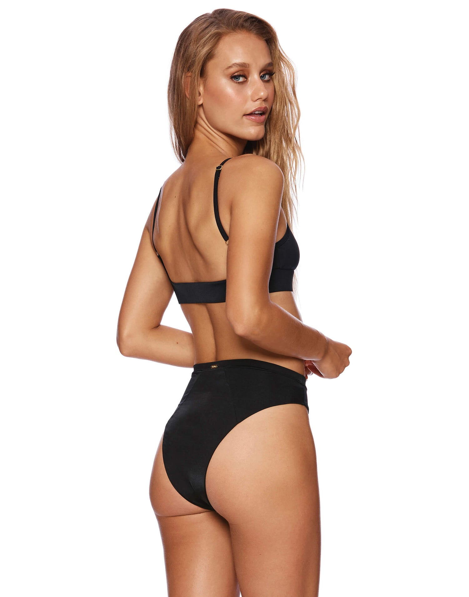 Black Emerson Skimpy High Waisted Bikini - back view