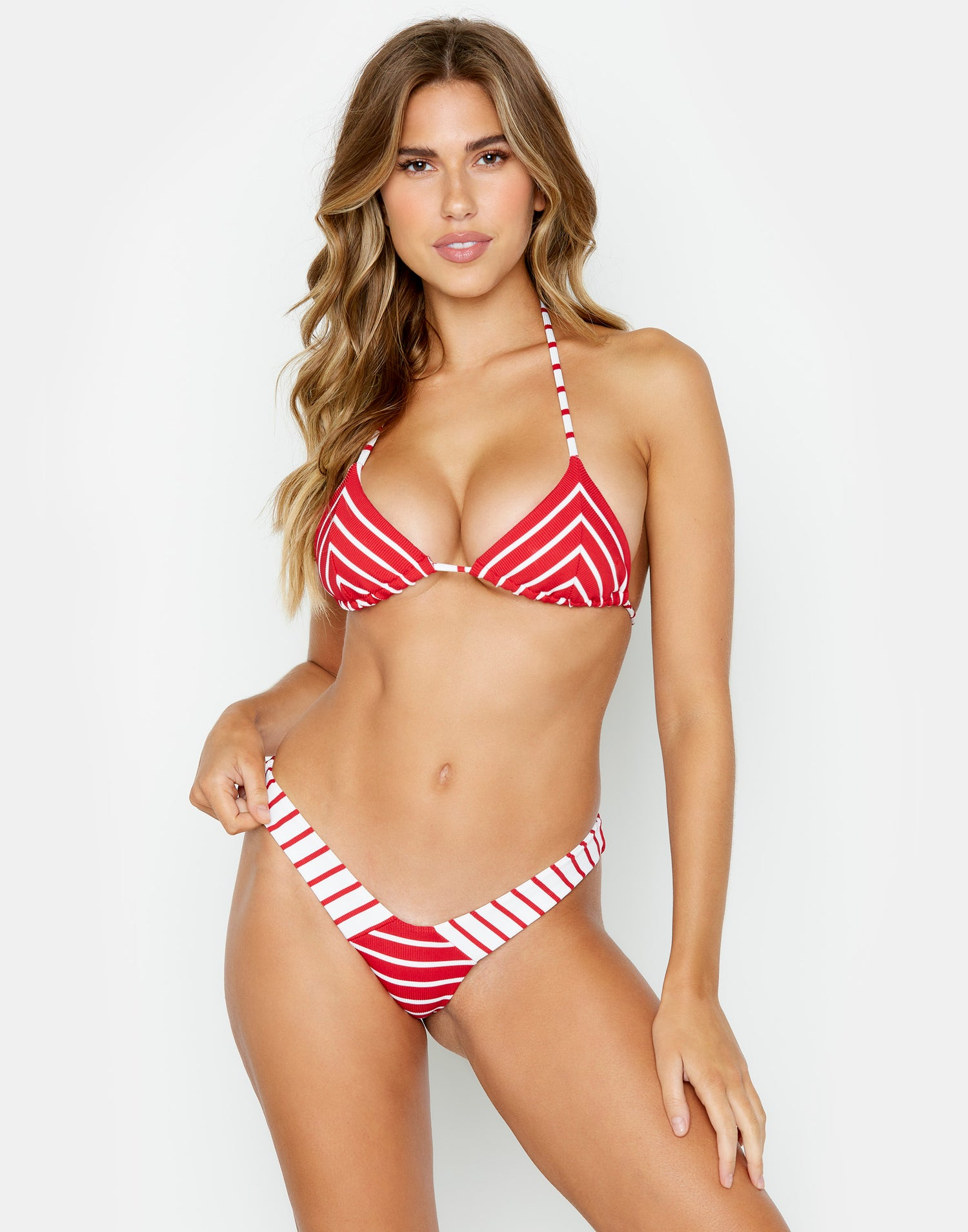 Front View Emerson Triangle Bikini Top in Red Stripe Rib