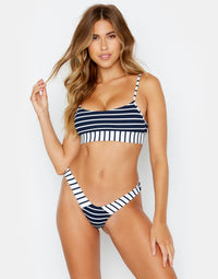 Blue Striped Micro Tango Bikini Bottom from Chrissy Front View