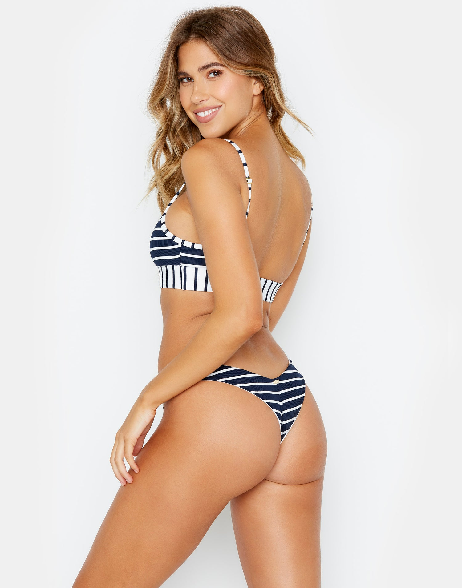 Chrissy Micro Tango Blue Striped Bikini Bottom Back View