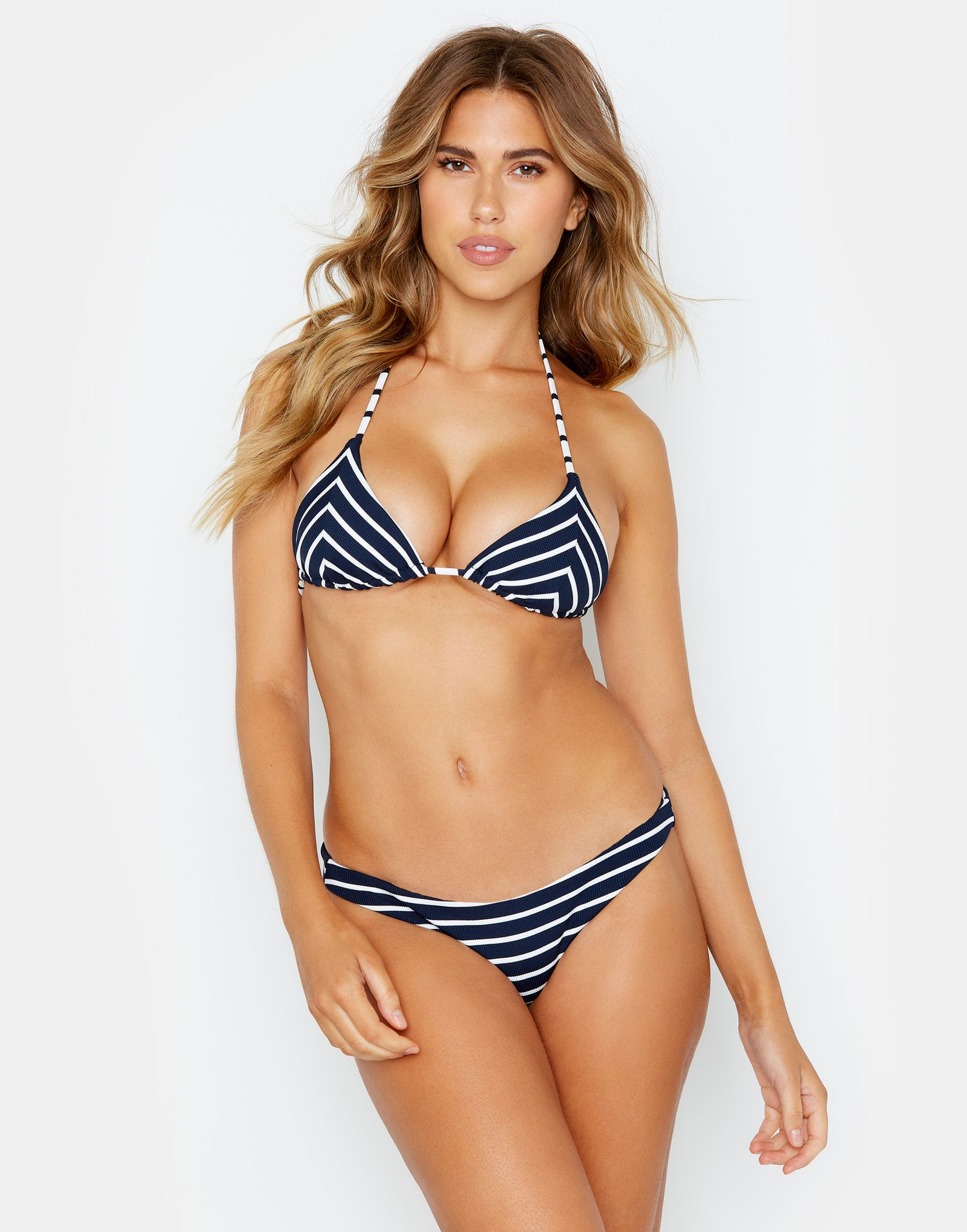 Front View Triangle Bikini Top in Navy Stripe Rib by Emerson