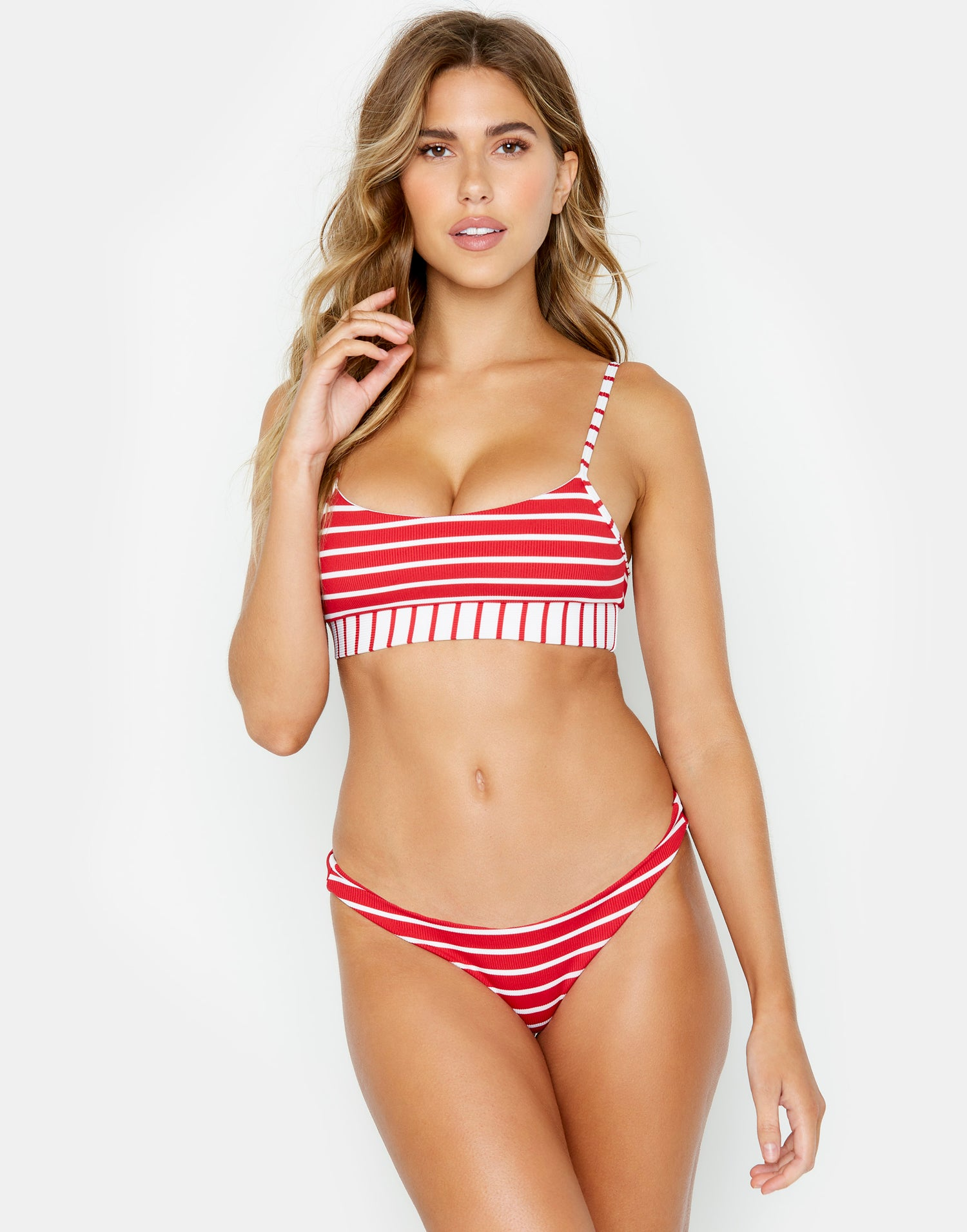 Red Striped Rib Emerson Bralette Bikini Top Front View