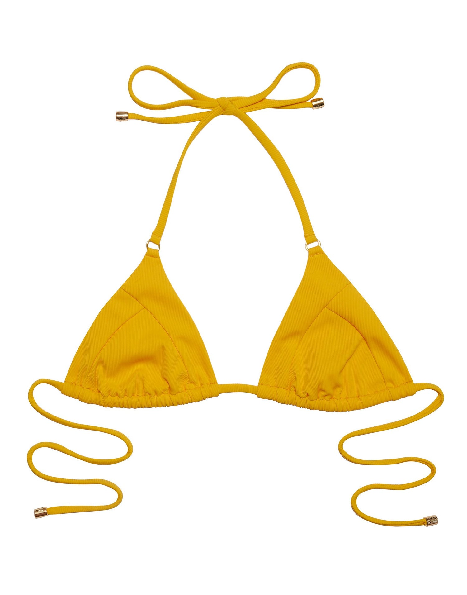 Emma Triangle Bikini Top in Honey Yellow Rib - product view