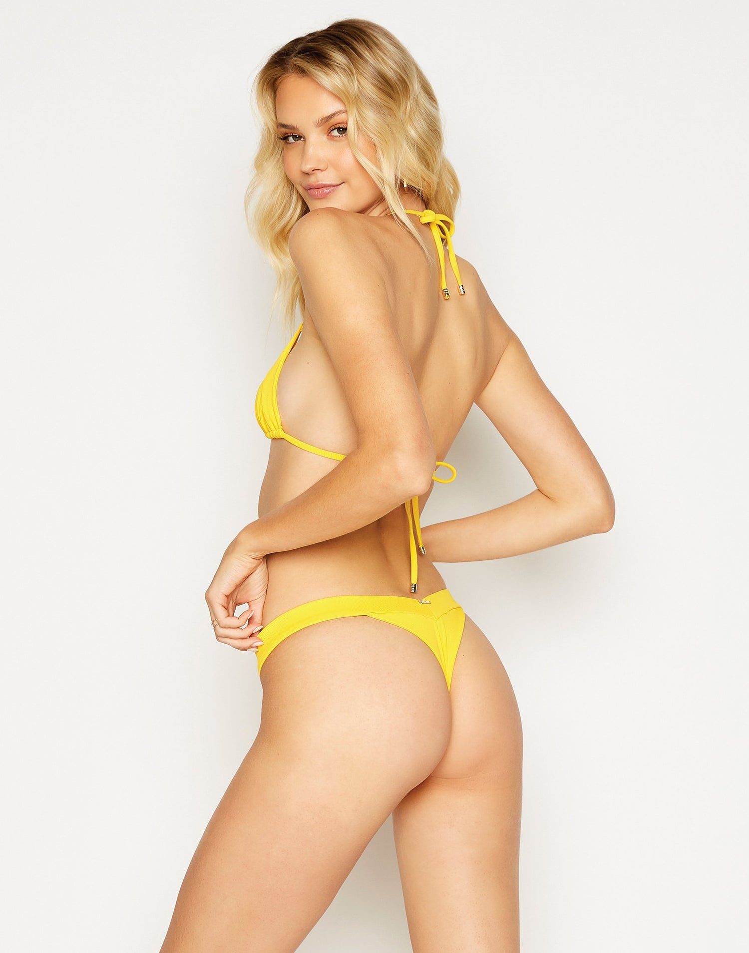 Naomi Micro Brazilian Bikini Bottom in Honey Yellow Rib - back view