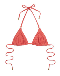 Emma Triangle Bikini Top in Rose Pink Rib - product view