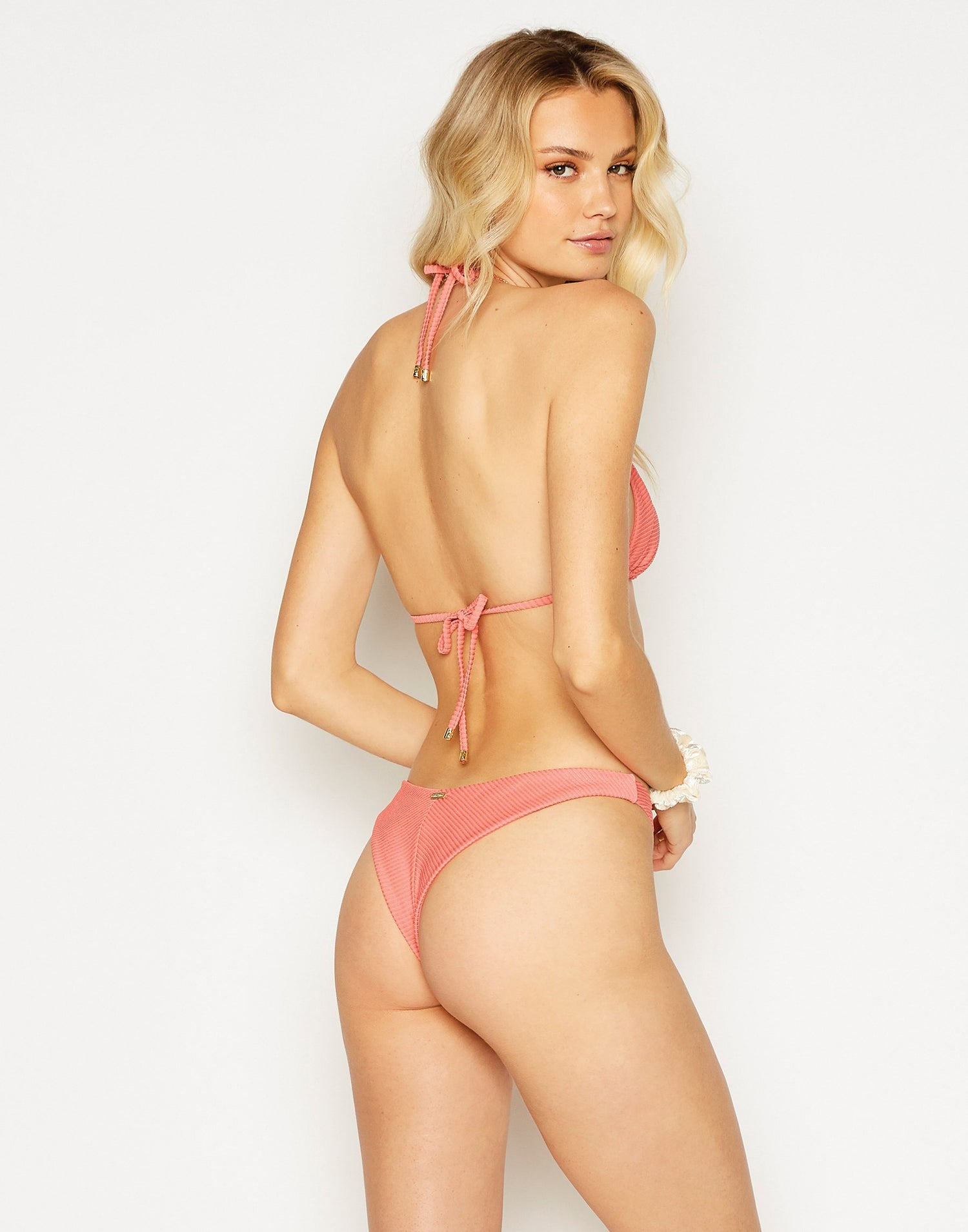 Emma Triangle Bikini Top in Rose Pink Rib - back view