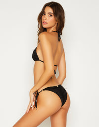 Emma Triangle Bikini Top in Black - side view