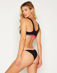 Endless Summer Adjustable Skimpy Bottom in Black/Cherry Blossom/Barbie - back view