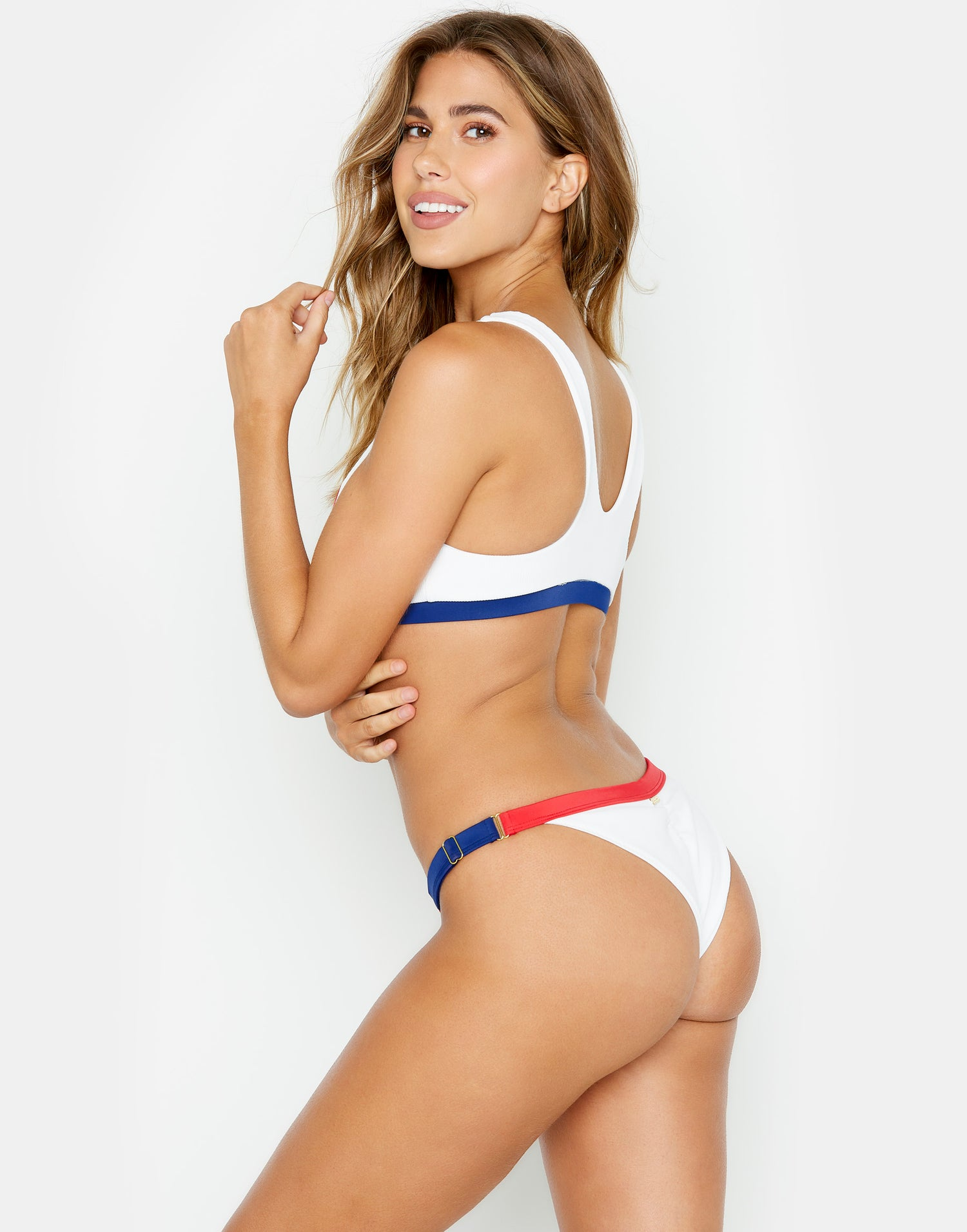 red, white & blue adjustable skimpy bikini bottom