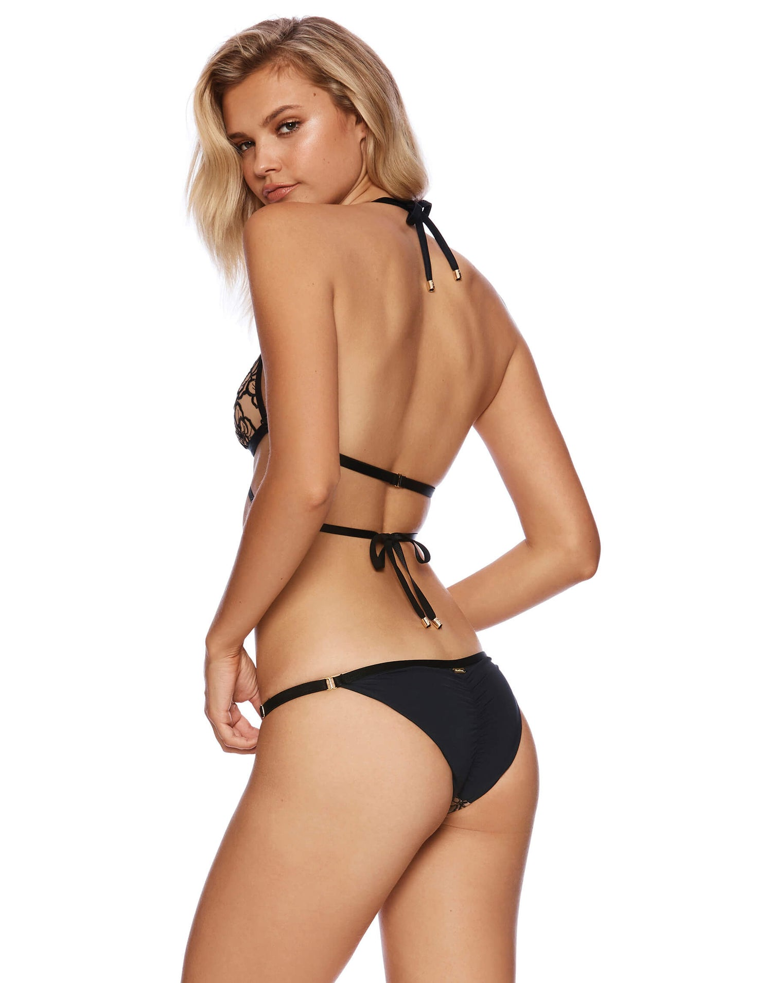 Black - Embroidered Lace Skimpy Bikini Bottoms