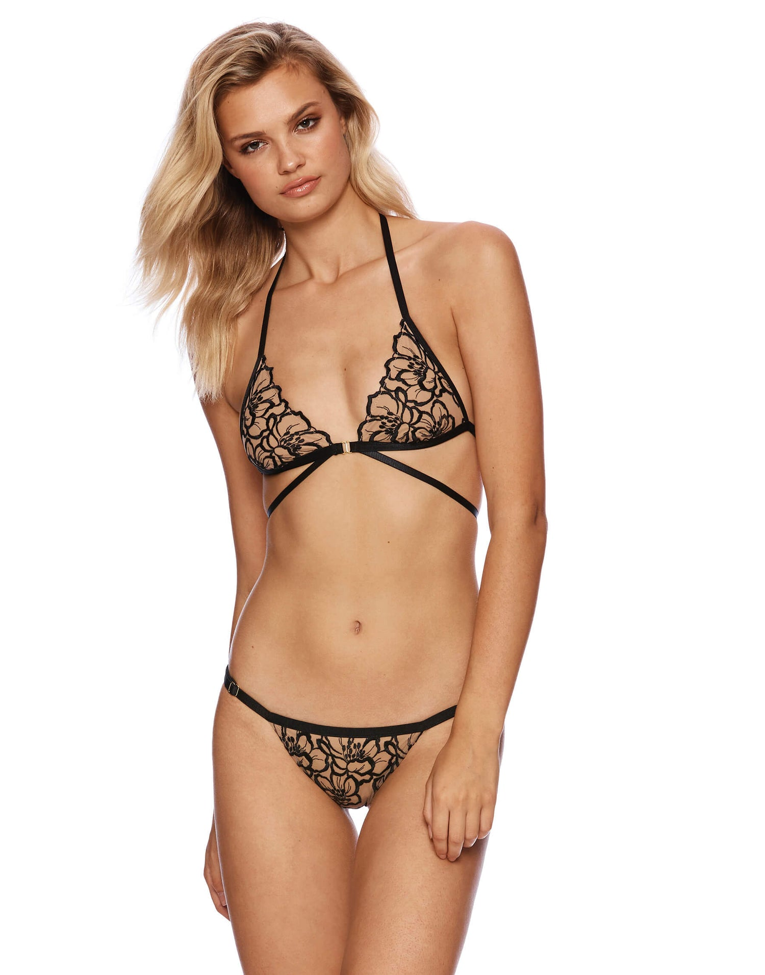 Embroidered Black Lace Bikini Wrap Top - product view