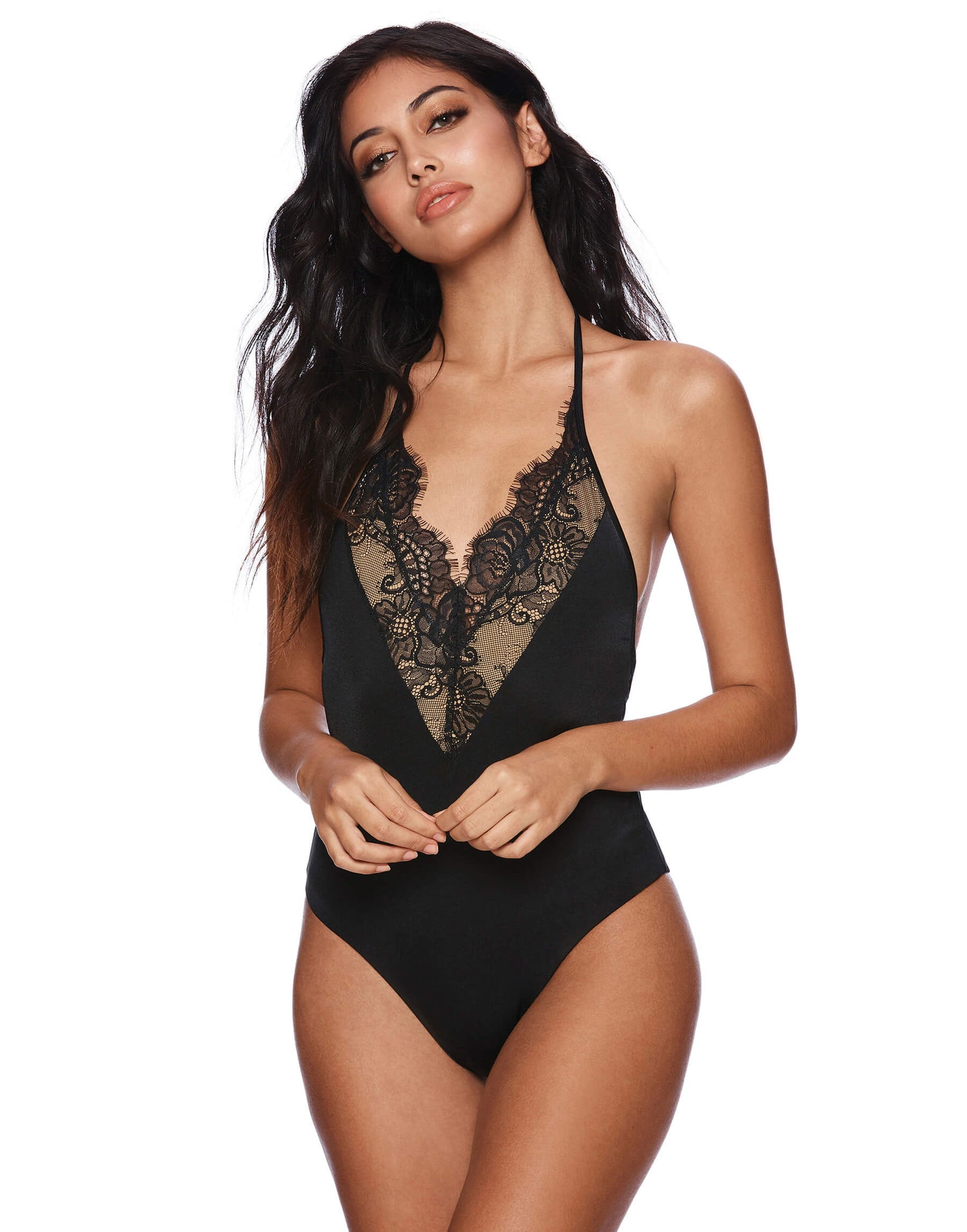 Farrah Lacy One Piece in Black Front View