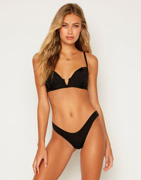 Aria Skimpy Bikini Bottom in Black - Front View