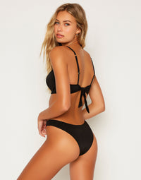Aria Skimpy Bikini Bottom in Black - Back View
