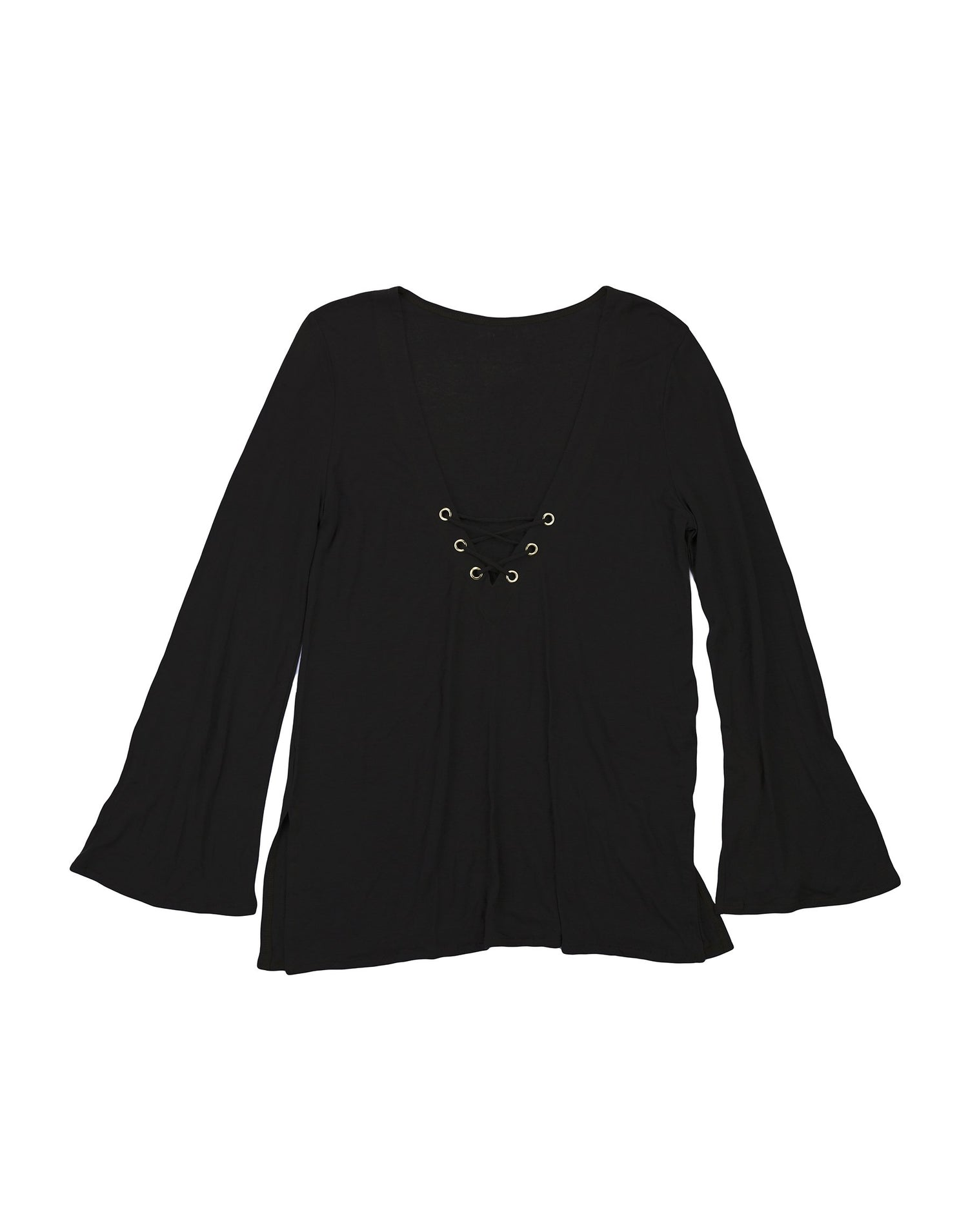 Black Long Sleeved Tunic Dress - product view