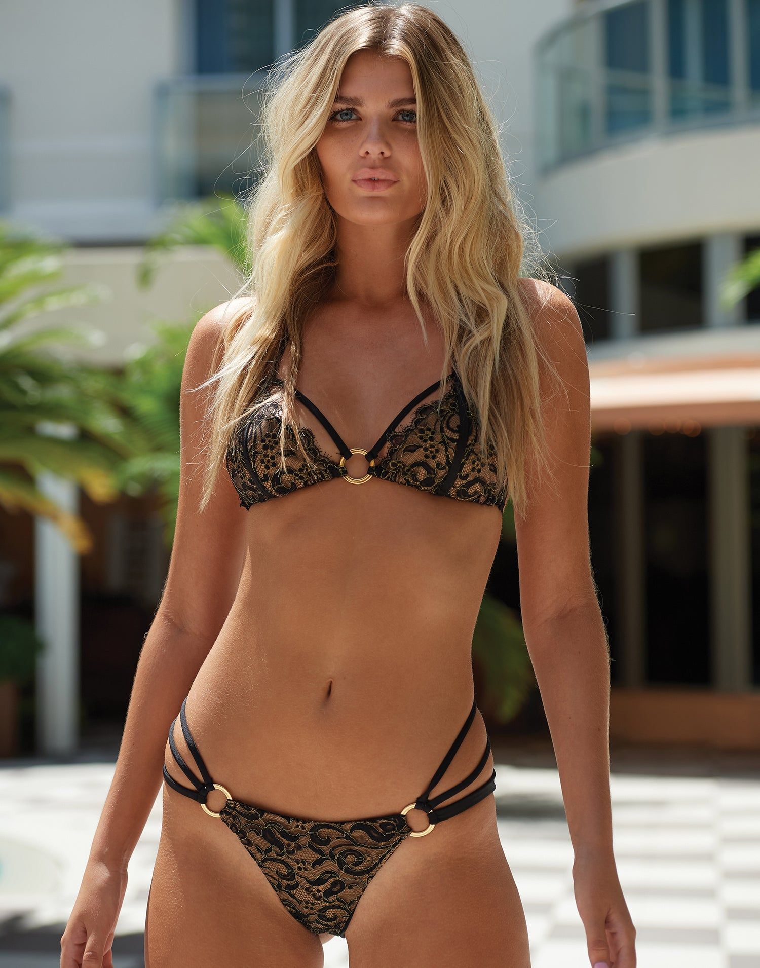 Gunpowder and Lace Triangle Bikini Top in Black - Runway View