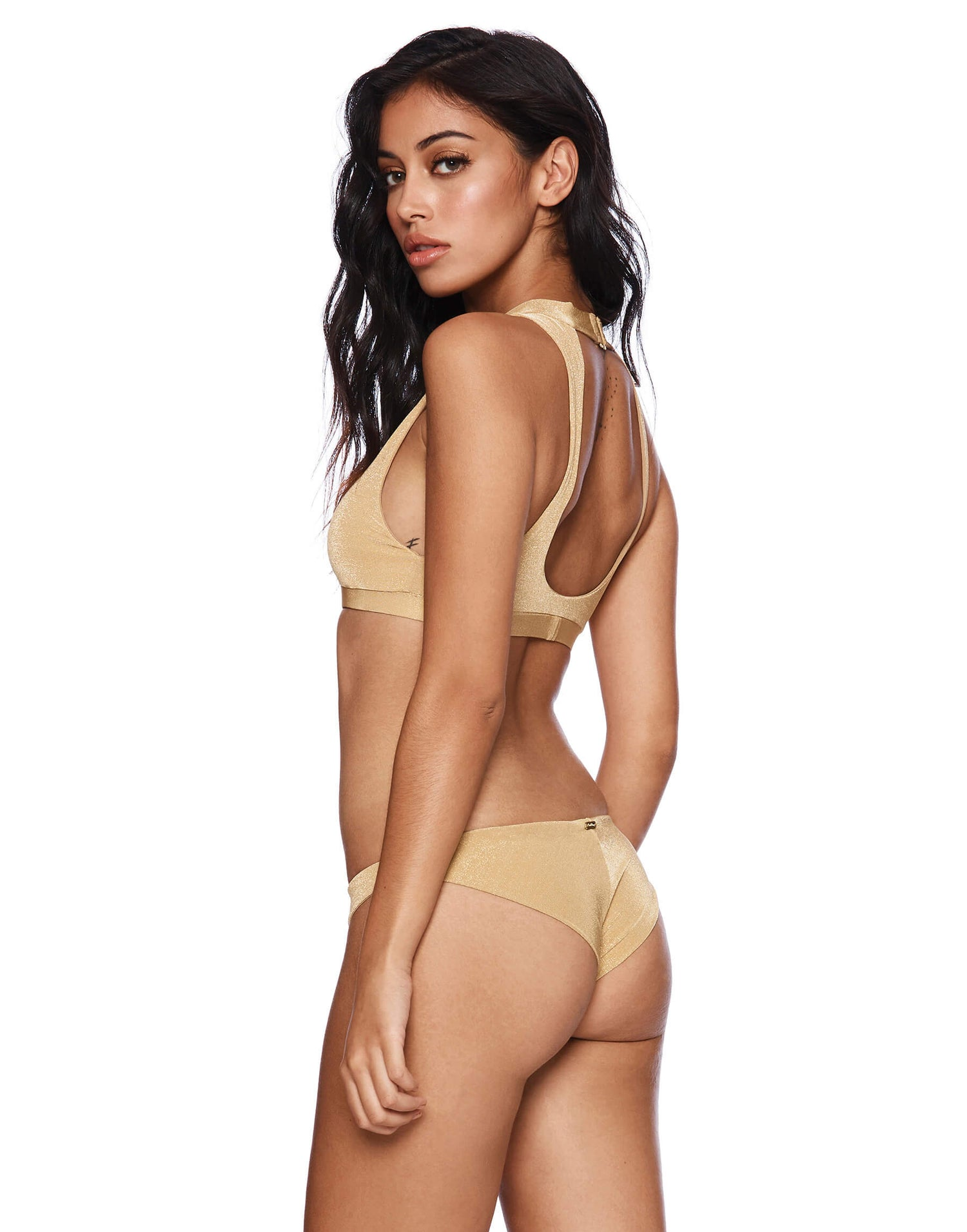 Gold Gwen High Neck Two Piece Bathing Suit - side view
