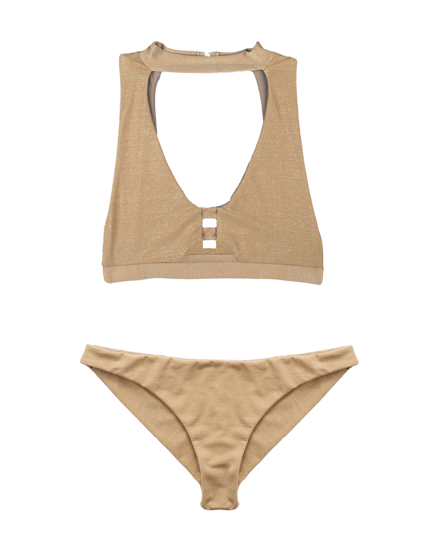 Gold Sexy High Neck Swim Top - product view