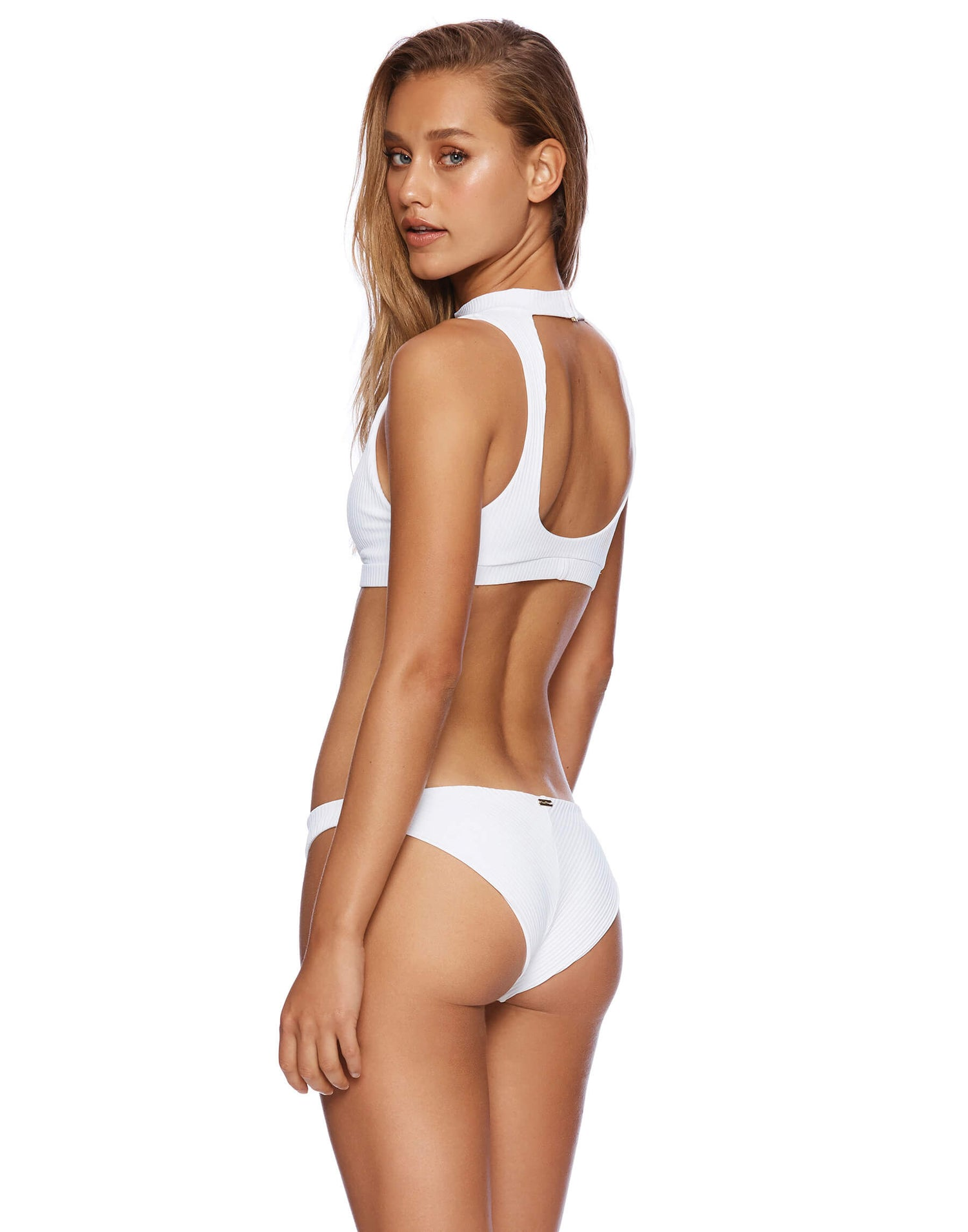 White Rib Gwen High Neck Swimsuit - side view
