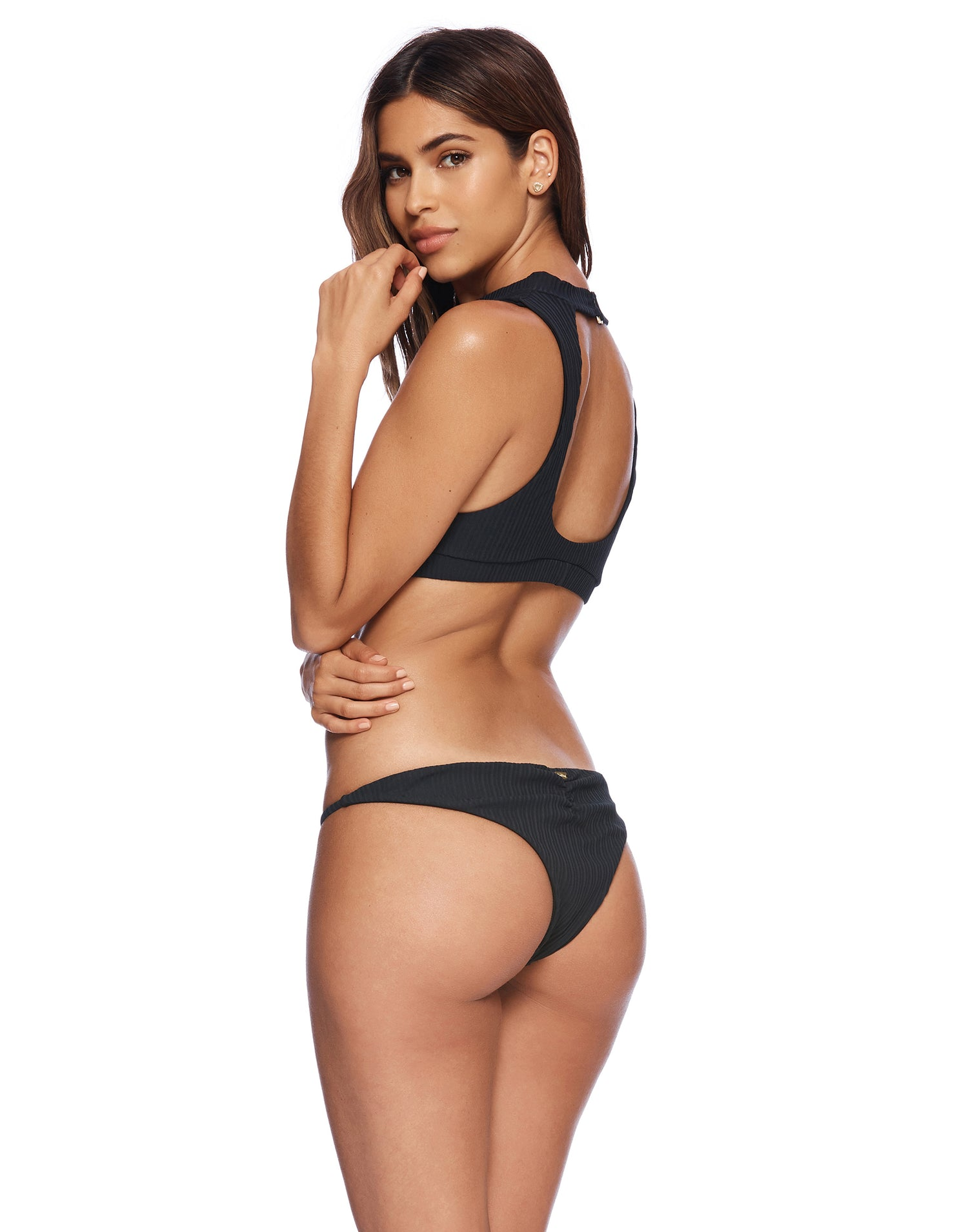 Black Rib Gwen High Neck Bathing Suit - side view