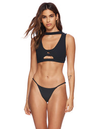 Jordan Tango Bikini Bottom in Black Rib - Front View