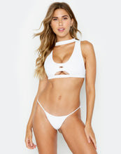 White Rib Gwen High Neck Bikini Top - product view