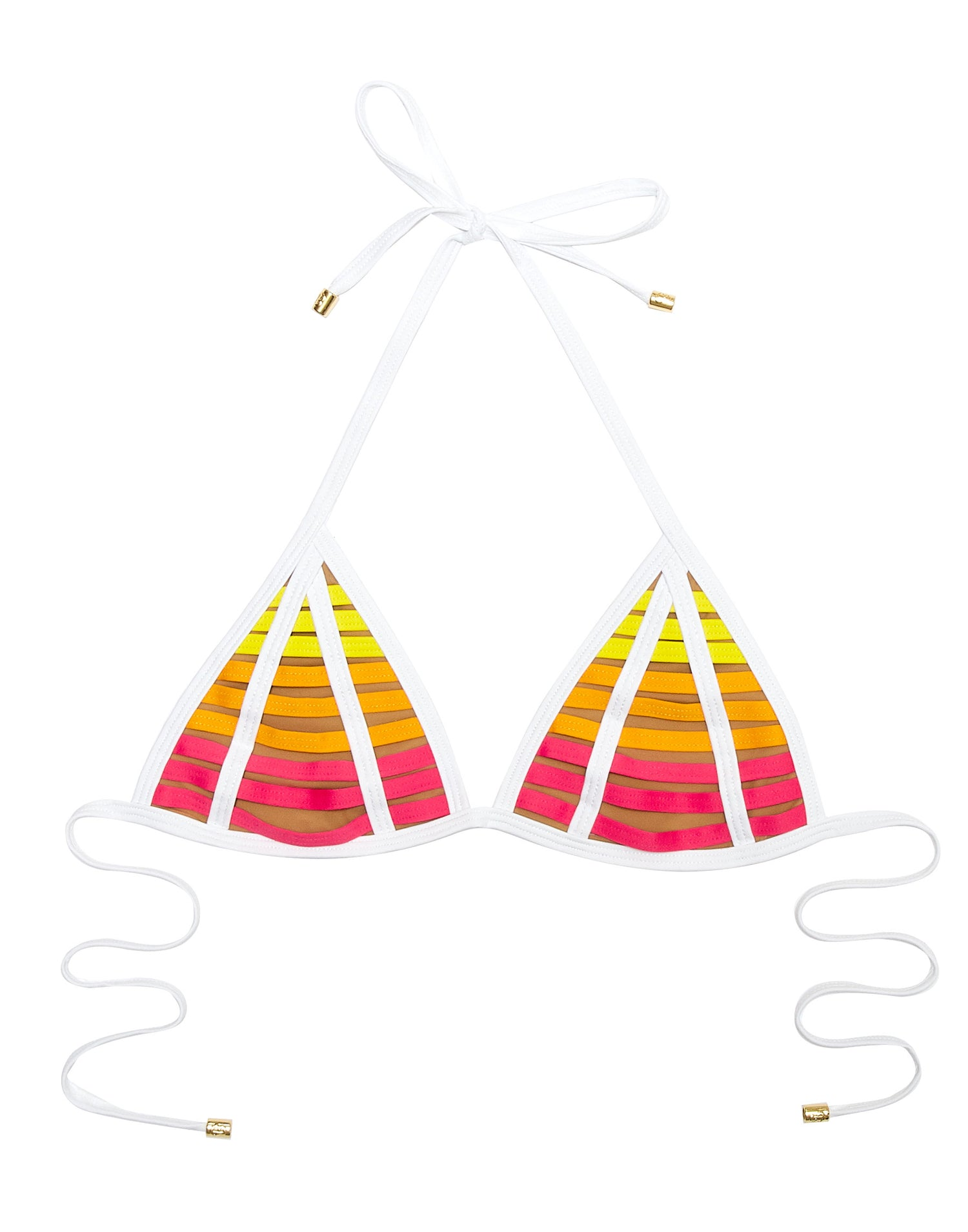 Hard Summer Triangle Bikini Top in Pink Stripes - product view