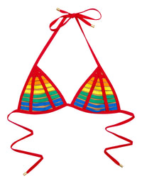 Sexy Triangle Bikini Top with Red Rainbow Stripes - product view