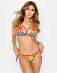 Hard Summer Rainbow Tie Side Bottom in Red Multi Front View