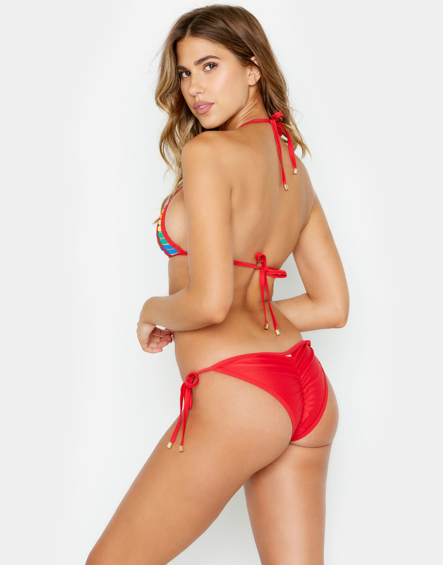 Hard Summer Rainbow Tie Side Bottom in Red Multi