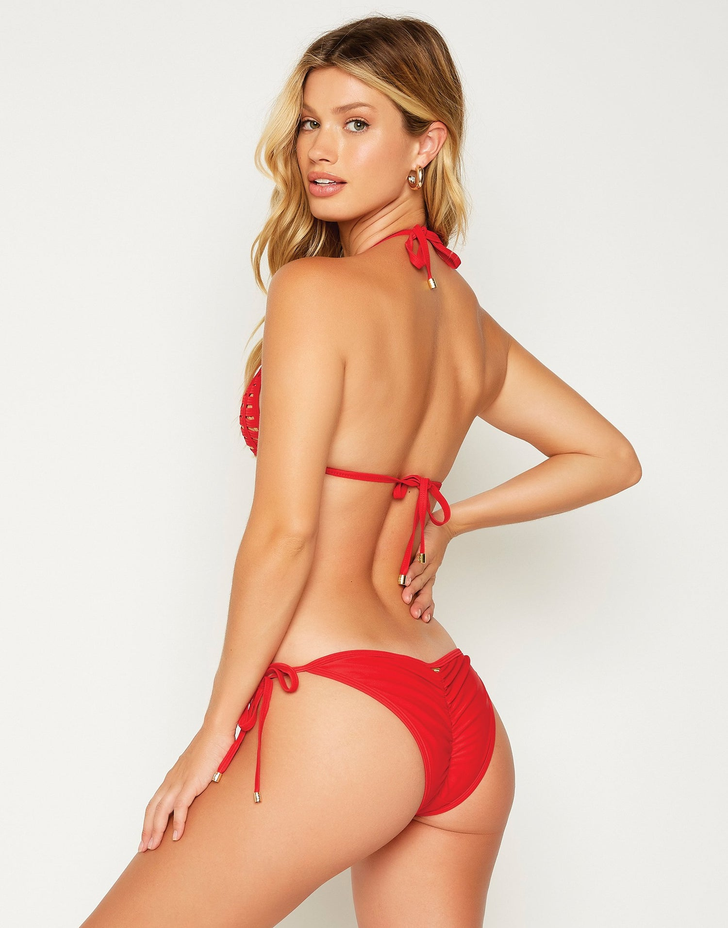 Red Hard Summer Tie Side Bikini Bottom - back view
