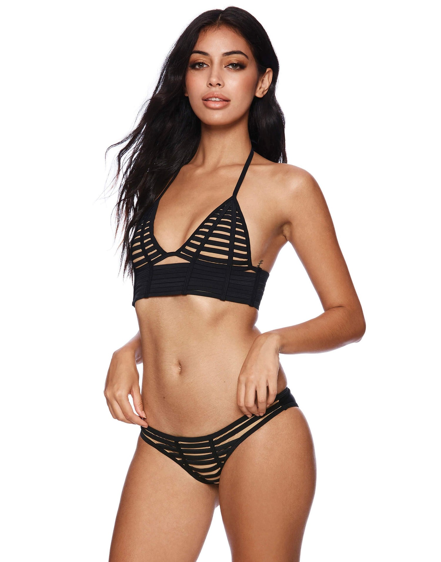 Black Hard Summer Skimpy Bikini Bottom - front view