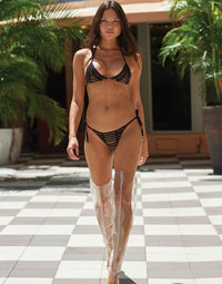 Hard Summer Triangle Bikini Top in Black - Runway View