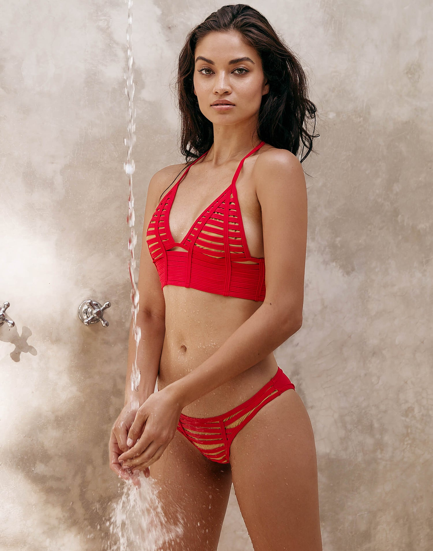 Red Hard Summer Long Line Triangle Bathing Suit - front view