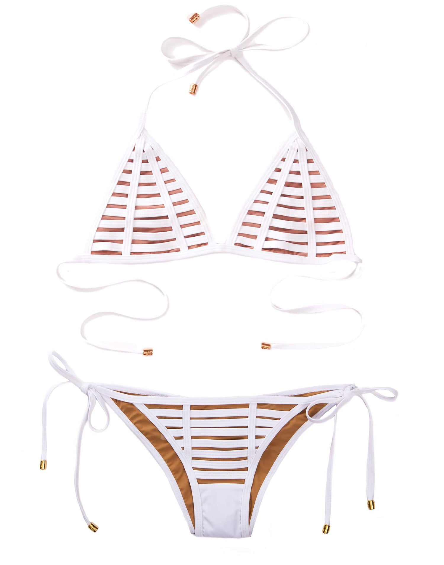 White Hard Summer Tie Side Bikini - product view