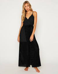 Haven Cover Up Dress in Black - Front View