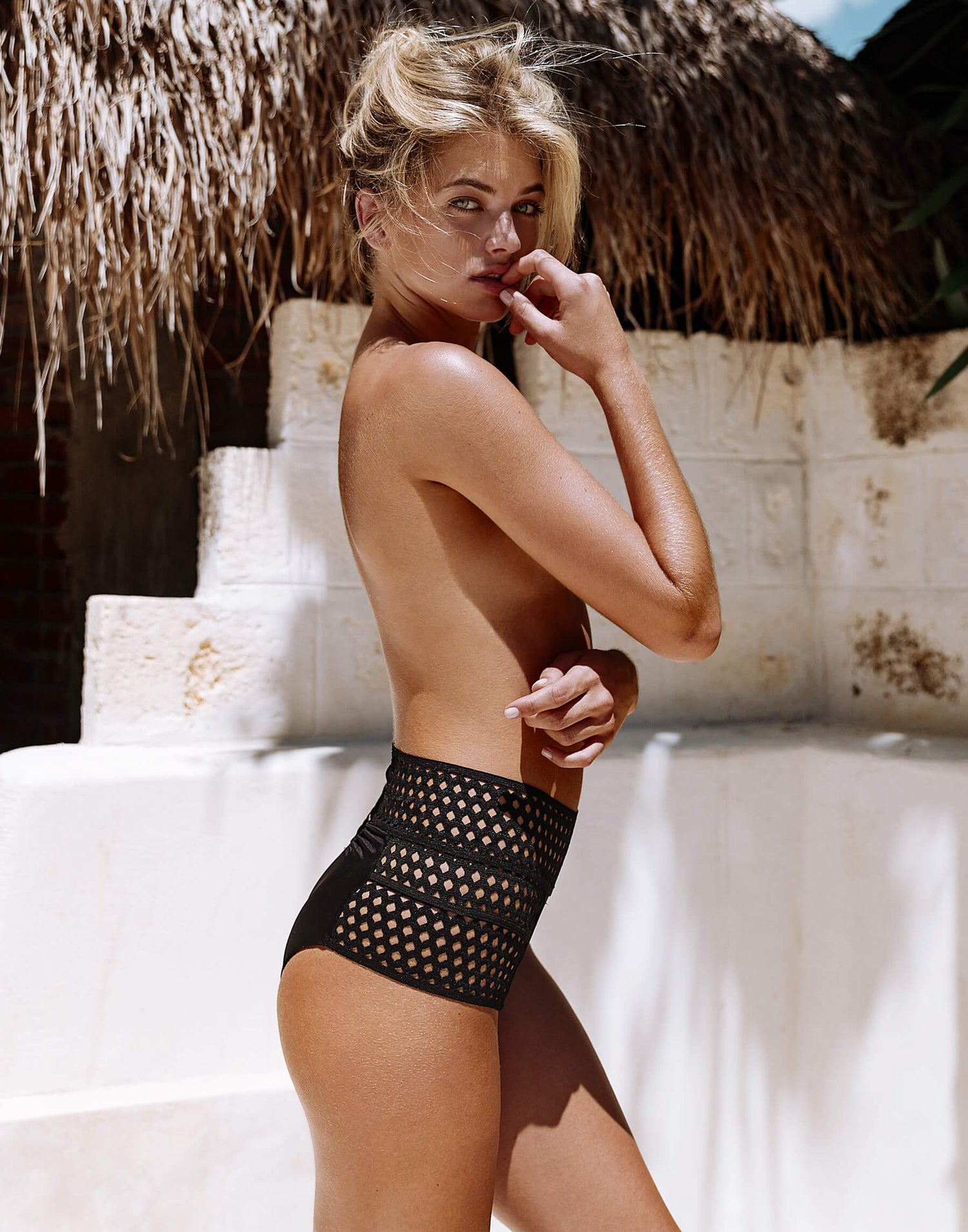 Hayden High Waist Bottom in Black Model View
