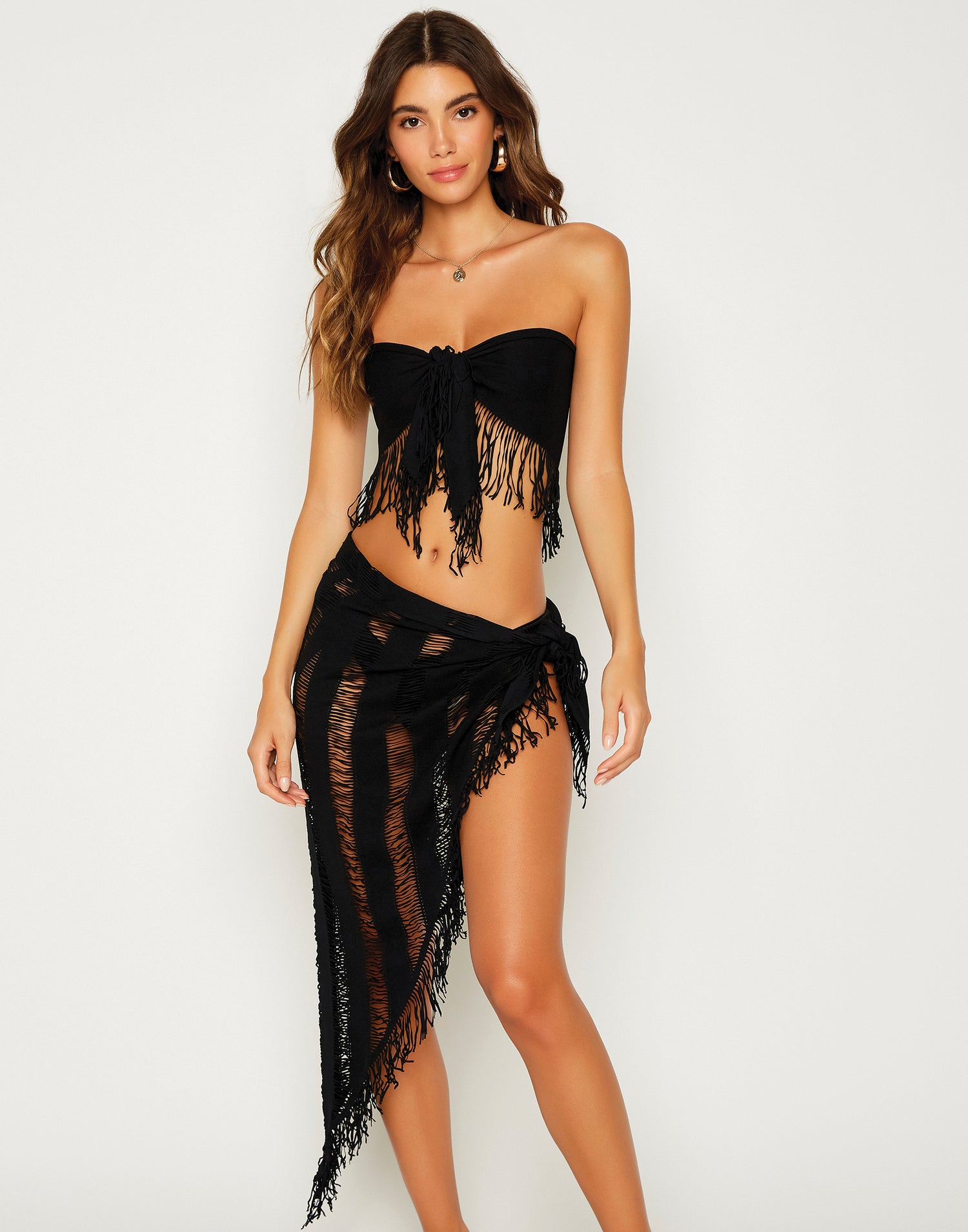 Indian Summer Sexy Bikini Cover Up Sarong in Black - front view