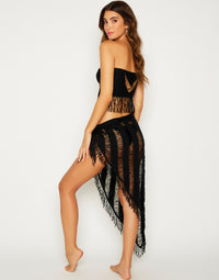 Indian Summer Sexy Bikini Cover Up Sarong in Black - back view