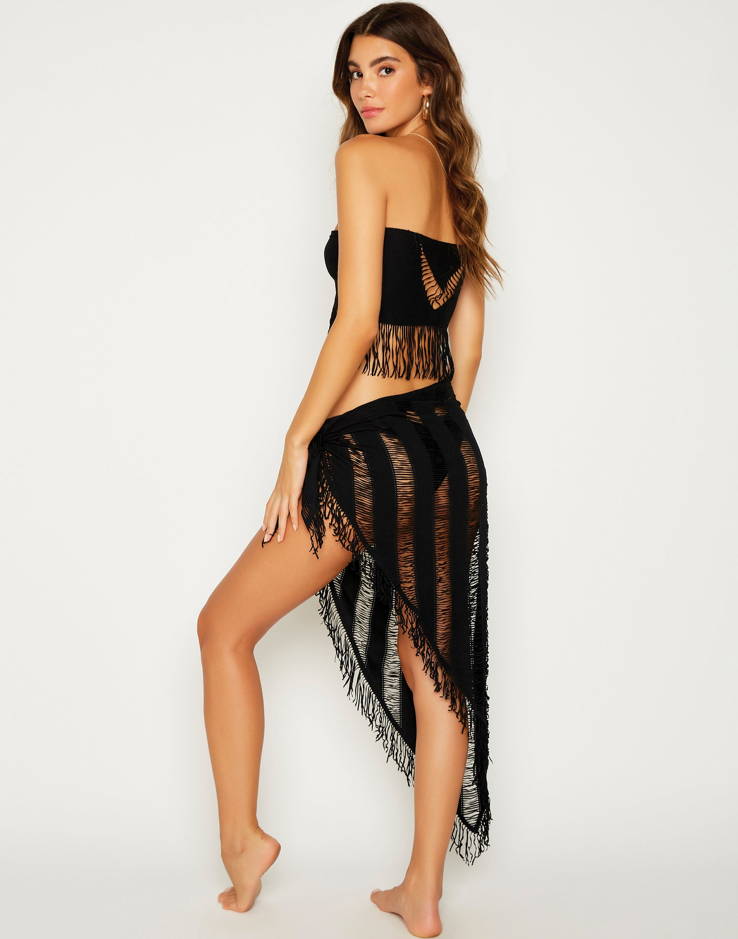 Indian Summer Sexy Bikini Cover Up Top in Black - back view