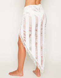 Indian Summer Sexy Bikini Cover Up Sarong in White - detail view